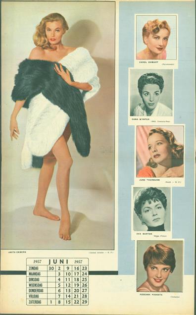 (SMALL POSTER / PIN-UP) Piccolo Kalender - 1957 Juni- Anita Ekberg