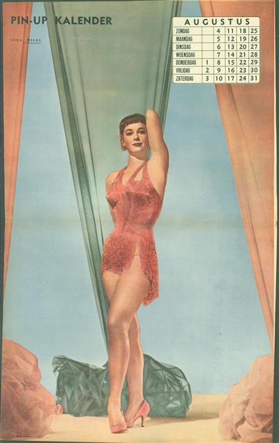 (SMALL POSTER / PIN-UP) Piccolo Kalender - 1957 Augustus- Vera Miles