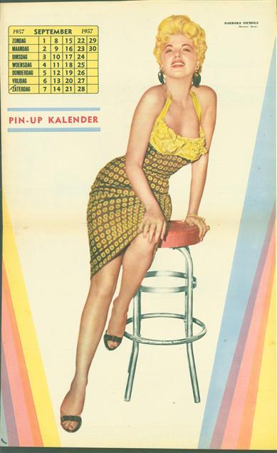 (SMALL POSTER / PIN-UP) Piccolo Kalender - 1957 September- Barbara Nichols