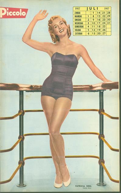 (SMALL POSTER / PIN-UP) Piccolo Kalender - 1957 Juli - Patricia Neal