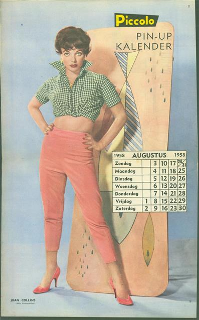 (SMALL POSTER / PIN-UP) Piccolo Kalender - 1958 Augustus - Joan Collins
