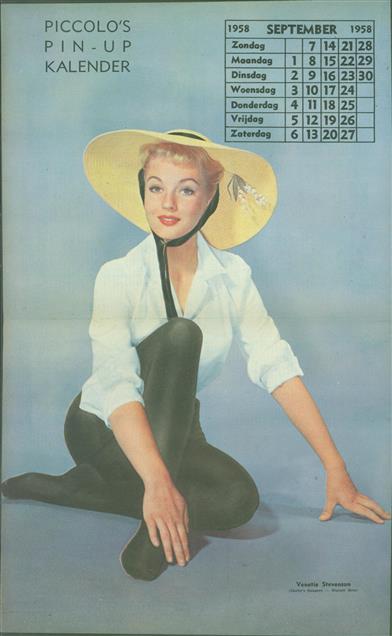 (SMALL POSTER / PIN-UP) Piccolo Kalender - 1958 September- Venetia Stevenson