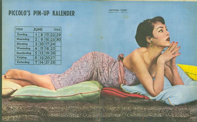 (SMALL POSTER / PIN-UP) Piccolo Kalender - 1958 Juni - Natasha Parry