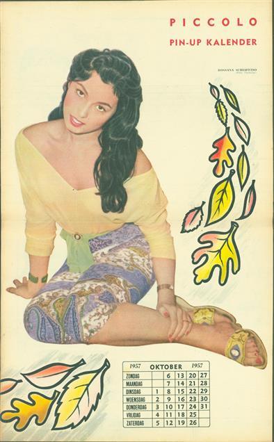 (SMALL POSTER / PIN-UP) Piccolo Kalender - 1957 Oktober-  Rossana Schaffino