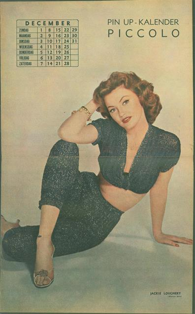(SMALL POSTER / PIN-UP) Piccolo Kalender - 1957 December- Jackie Loughery