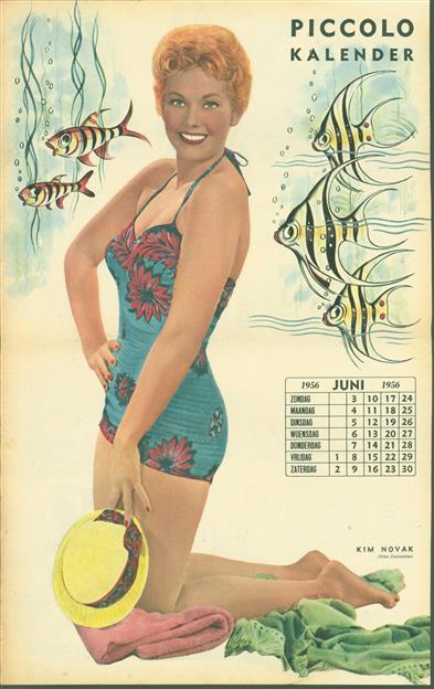 (SMALL POSTER / PIN-UP) Piccolo Kalender - 1956 Juni-  Kim Novak