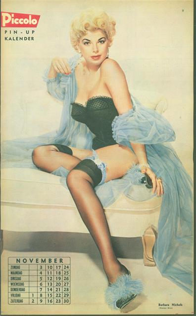 (SMALL POSTER / PIN-UP) Piccolo Kalender - 1957 November - Barbara Nichols