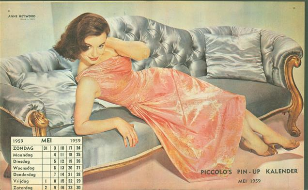 (SMALL POSTER / PIN-UP) Piccolo Kalender - 1959  Mei - Anne Heywood