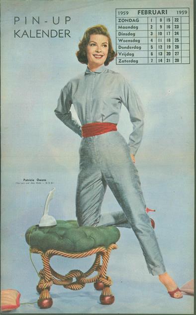 (SMALL POSTER / PIN-UP) Piccolo Kalender - 1959  Februari- Patricia Owens