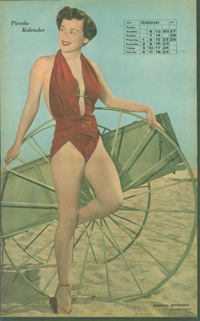 (SMALL POSTER / PIN-UP) Piccolo Kalender - 1956 Februari - Barbara Osterman