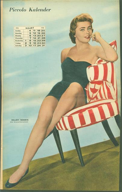 (SMALL POSTER / PIN-UP) Piccolo Kalender - 1956  Maart - Hillevi Rombin