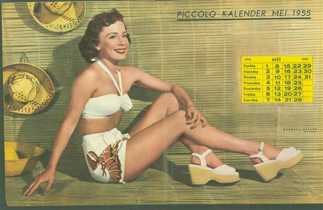(SMALL POSTER / PIN-UP) Piccolo Kalender - 1955 Mei- Barbara Fuller