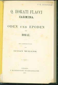 Q. Horatii Flacci Carmina = Oden und Epoden des Horaz