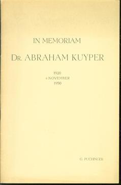 In memoriam Dr. Abraham Kuyper : 1920 8 November 1950