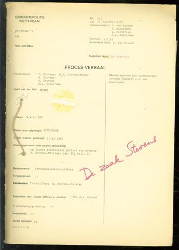 De zaak Stevens, proces-verbaal