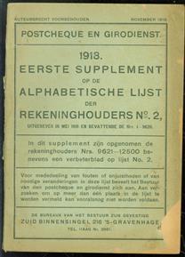 Postcheque- en Girodienst- 1918 Eerste supplement op de alphabetische lijst der rekeninghouders No 2