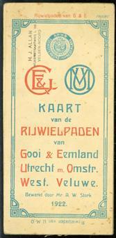 (TOERISME / TOERISTEN BROCHURE) Kaart van de rijwielpaden van Gooi & Eemland, Utrecht en omstreken en West-Veluwe