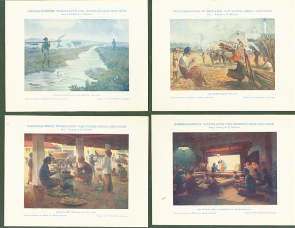 (BEDRIJF CATALOGUS - TRADE CATALOGUE) (8  reclame afbeeldingen ) aardrijkskundige wandplaten van Nederlandsch Oost-Indi�
