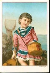 Meisje aan strand met schepnetje - Girl on beach with fishing net