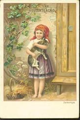 Meisje met poes in de armen en rode hoofddoek - Girl with cat in the arms and red headscarf