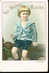 jongetje met stok in zondagse pakje - little boy with a stick in a Sunday suit