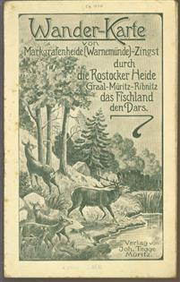 (TOERISME / TOERISTEN BROCHURE) Wanderkarte von Markgrafenheide (Warnemunde) : Zingst durch die Rostocker Heide, Graal-Müritz, Ribnitz, das Fischland, den Darss.