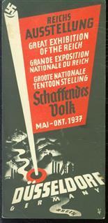 (BROCHURE) Grosse Reichs-Ausstellung Schaffendes Volk Düsseldorf-Schlageterstadt, Mai - Okt. 1937 ; Stadtplan