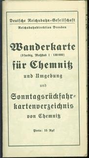 Wanderkarte fur das Gebiet Chemnitz und Umgebung