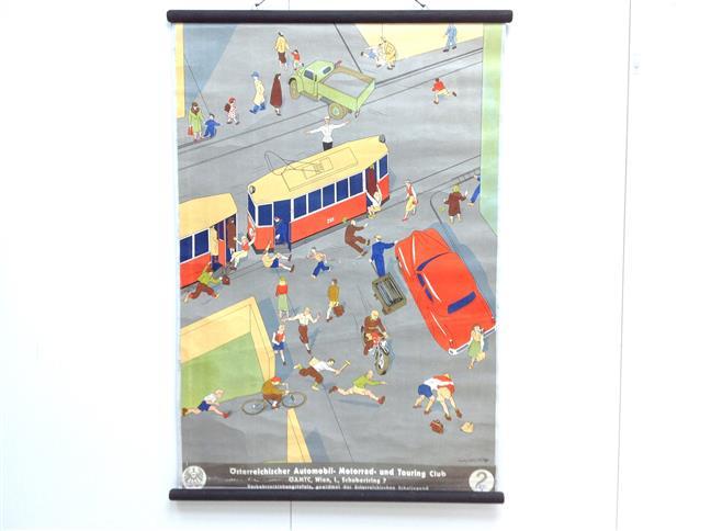 (SCHOOLPLAAT - SCHOOL POSTER / MAP - LEHRTAFEL) Verkehrserziehungstafeln. Gewidmet der östereicischen schuljugend. - Tafel 2