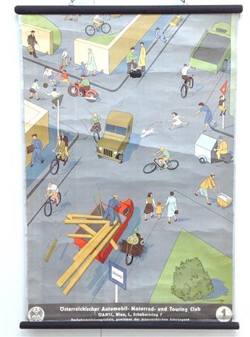 (SCHOOLPLAAT - SCHOOL POSTER / MAP - LEHRTAFEL) Verkehrserziehungstafeln. Gewidmet der �stereicischen schuljugend. - Tafel 1