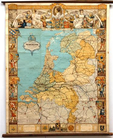 (SCHOOLPLAAT - SCHOOL POSTER - LEHRTAFEL) Nederland - Het regeringsjubileum van H.M. Koningin Wilhelmina 1898 - 1923