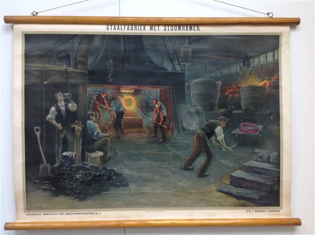 (SCHOOLPLAAT - SCHOOL POSTER - LEHRTAFEL) Staalfabriek met Stoomhamer ( lithografie naar pastelteekeningen )