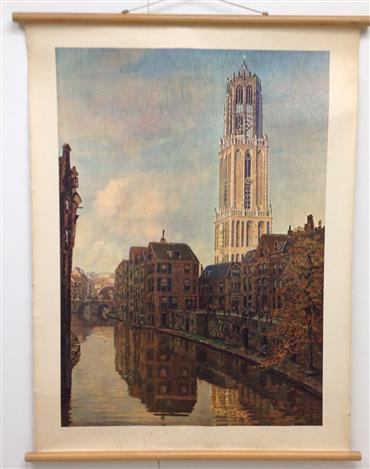 (SCHOOLPLAAT - SCHOOL POSTER - LEHRTAFEL) De Dom te Utrecht ( Lithografie op linnen )
